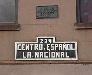 La Nacional exterior plaque, Elena Martinez