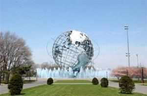 Unisphere Fountain kicks off, 2003, NYC Dept of Parks & Recreation